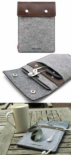 Leather and Wool Felt sleeve case for Apple iPad Mini2