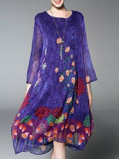 Shop Midi Dresses - Purple Floral-print Crew Neck Vintage Midi Dress online. Discover unique designers fashion at StyleWe.com.