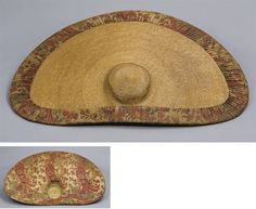 A FINE STRAW AND CHINTZ HAT 18TH CENTURY Dutch women's straw hats  Note the use of fabric (often chintz) lining on the interior only, and (in some cases) a D-shape to the brim.