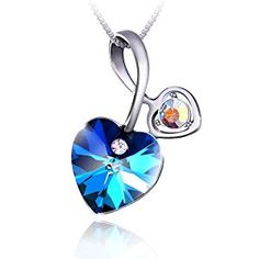 """PLATO H Heart of Ocean Pendant Necklace for Women with Swarovski Crystal Fashion Jewelry Blue, 18"""""""