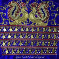 To get your outfit customized visit us at Chennai, Vadapalani or call/msg us at for online order and further details. Wedding Saree Blouse Designs, Best Blouse Designs, Embroidery Works, Aari Embroidery, Zardosi Work Blouse, Peacock Embroidery Designs, Hand Designs, Mehndi Designs, Maggam Work Designs