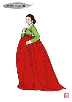 여성 한복의 전통적인 배색 - (3) 새색시의 옷차림 Korean Hanbok, Korean Dress, Korean Outfits, Korean Traditional Dress, Traditional Fashion, Traditional Dresses, Korean Art, Cute Korean, Korean Illustration