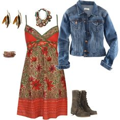Sundress + jean jacket + combat boots = good....except I'd switch out the combat boots for cowboy boots.