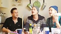 Some Swedish fishermen singing Kiss From A Rose with kitchen appliances