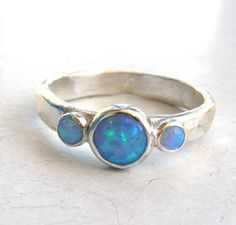 Engagement Ring Gemstone blue opal  Mineral ring by OritNaar, $85.00