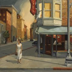Sally Storch- reminds me of Edward Hopper American Realism, American Artists, Edouard Hopper, Edward Hopper Paintings, Urban Landscape, Abstract Landscape, Oeuvre D'art, Kitsch, Painting & Drawing