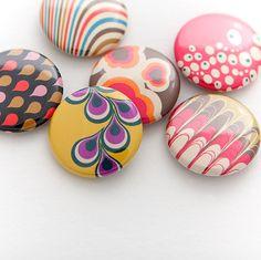Supermandolini jewellery - Set of hand pressed badges