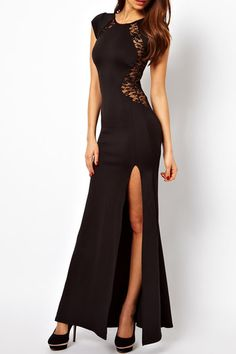 Black Lace Insert High Split Body-Conscious Maxi Dress from mobile - US$21.95 -YOINS