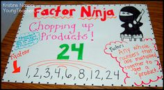 Factor Ninja Love this site for fourth grade math. Factors and Multiples Anchor Charts and Teaching Ideas Math Charts, Math Anchor Charts, Math Resources, Math Activities, Classroom Resources, Educational Activities, Teaching Math, Teaching Ideas, Math Teacher
