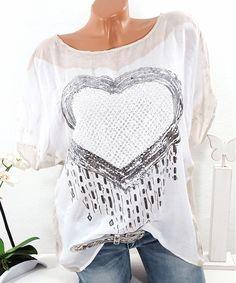 Tunika Shirt mit Herz Batik Vintage Look    #shabby #festival #sommermode #damenmode