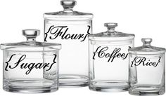 Kitchen Canister Labels Flour Sugar Coffee Rice Vinyl Decal Set 8.00