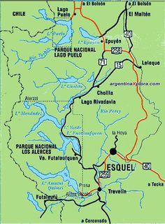 Mapa de la Región Esquel Lago Puelo - Provincia del Chubut