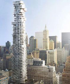 Das verschachtelte Hochhaus, das mit seinen aufeinander gestapelten Etagen wie ein Jenga-Turm (Geschicklichkeitsspiel) aussieht, bietet 145 Apartments und 10 Penthäuser zwischen 3,5 und 33 Millionen Dollar – je höher, desto teurer vorheriges Elementnächstes Element