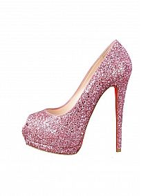 Sparkling Glitter Upper Stiletto Heel Peep Toe Party / Evening Shoes Pink