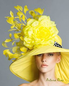 Ketucky Derby Yellow Hat Couture derby hat Yellow by ArturoRios