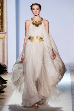 Long, flowing, white and gold, Grecian style dress; Zuhair Murad Spring 2013 Couture Collection