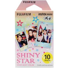 "Fujifilm Instax mini film Shiny Star. - Includes 10-photos Instax Shiny Star film for Instax Mini. - Works in all Instax Mini style cameras. - 2"" x 3"" credit card sized images in ISO 800. - Lovely design with shiny stars."