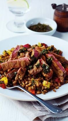 This super quick thin cut steak salad is ready in under 10 minutes and is a great midweek option. Freekeh grains are combined with sweet peppers, ground coriander and turmeric and served with a chimichurri herb dressing. Easy Steak Recipes, Cooking Recipes, Steak Salad, Ground Coriander, Sirloin Steaks, Chimichurri, Stuffed Sweet Peppers, Turmeric, Herb