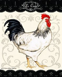 Le Coq I Canvas Art - Gwendolyn Babbit x Chicken Painting, Chicken Art, Chicken Illustration, Chicken Pictures, Decoupage Printables, Rooster Art, Chickens And Roosters, Galo, Decoupage Paper