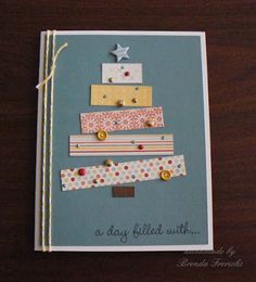 My goal?  Use only what I already have at home in my craft room to create all my Christmas cards this year.   Here's one I made using bits o...