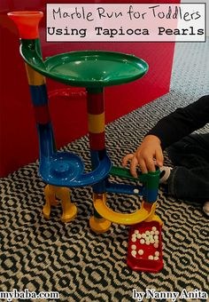 Marble run with tapioca pearls makes an excellent taste safe activity for toddlers. Things To Do Inside, Fun Things, Baby Activities, Educational Activities, Tapioca Pearls, Kid Stuff, Toddlers, Marble, Arts And Crafts