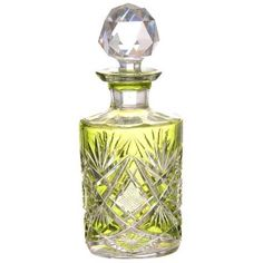 Lot: Green Cut to Clear Cologne Bottle, Lot Number: 0186, Starting Bid: $70, Auctioneer: Woody Auction LLC, Auction: American Brilliant Cut Glass -Roth Collection, Date: March 24th, 2018 CET