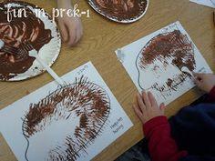 Hedgehog fork painting art project for preschool/kindergarten Kindergarten Art Projects, Preschool Kindergarten, Preschool Crafts, Preschool Themes, Eyfs Activities, Alphabet Activities, Animals That Hibernate, Nocturnal Animals, Artic Animals