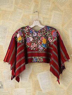 Vintage Ornate Flower Embroidered Poncho