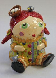 Vintage Cookies, Whimsical Fashion, Redhead Girl, Stoneware Clay, Cookie Jars, Summer Girls, Ceramic Art, Redheads, Cool Art