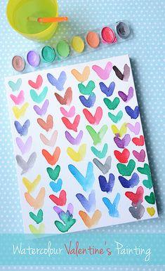 Watercolor hearts.