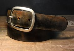 Vintage Distressed Leather Snap Belt, Brass Buckle - Handmade in USA Groomsmen Wedding, Gift for Him or Her, Full Grain Leather Belt Black Brown Leather Belt, Distressed Leather, Leather Belts, Black Leather, Men's Belts, Black Belt, Cuir Vintage, Belt Buckles, Style