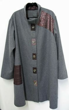 Marcy Tilton's Blog For Everyday Creatives Vogue 8934 grey wool flannel and vintage kimono silk accents,