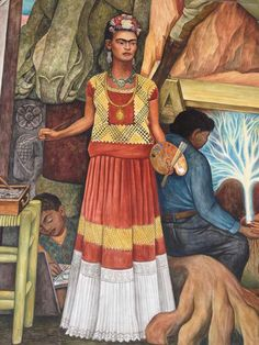 """Diego Rivera - Frida Kahlo (detail from """"Pan American Unity"""" mural at City College of San Francisco Diego Rivera Art, Diego Rivera Frida Kahlo, Frida E Diego, Frida Art, Natalie Clifford Barney, Mural Painting, Mural Art, Encaustic Painting, Munier"""