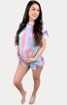 Hospital Bag Must Haves - Sexy Mama Maternity Maternity Pajama Set, Cute Maternity Outfits, Pregnancy Outfits, Maternity Dresses, Pregnancy Months, Comfy Shorts, Hospital Bag, Must Haves, Tie Dye