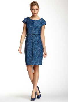 Seam Detailed Printed Cap Sleeve Dress by Laundry By Shelli Segal on @nordstrom_rack