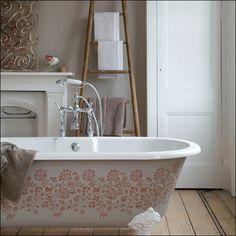 Stenciled bathtub