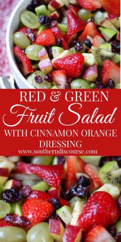 This easy winter fruit salad is filled with red & green apples, dried cranberries, kiwi and strawberries for a festive look! Simple, healthy honey orange dressing with poppy seeds. More from my siteWinter Fruit Salad Fruit Vert, Green Fruit, Red Green, Fruit Fruit, Orange Red, Fruit Snacks, Christmas Fruit Salad, Winter Fruit Salad, Fruit Salads For Thanksgiving