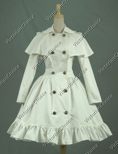 Gothic Victorian Lolita Steampunk Cotton Cape Coat Dress