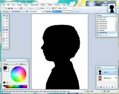Silhouette making in 4 steps from a FREE website! Maybe for a guess who for open house? Or a parent gift? Could also change the background to a landscape or famous location.