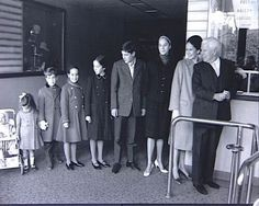 Charlie Chaplin, wife Oona and their 7 children in 1960.