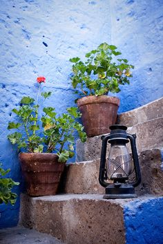 Love that blue and the cool old lamp.