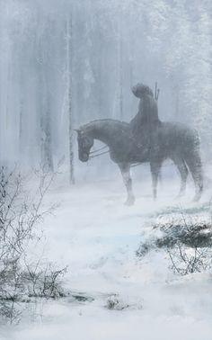 Fantasy Art Engine  Rider in the Snow by Eve Ventrue