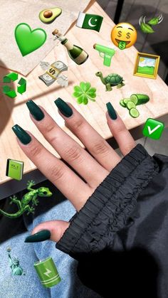 Green coffin acrylics acrylics coffin green New - Coffin Nails Aycrlic Nails, Coffin Nails, Manicures, Summer Acrylic Nails, Best Acrylic Nails, Acrylic Nails Green, Green Nail, Coffin Acrylics, Manicure Colors