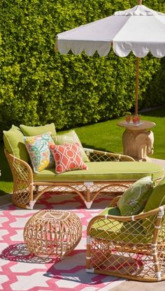 Punch bowl color - Pure retro chic in airy bent rattan and effervescent color. | Frontgate: Live Beautifully Outdoors
