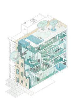 Climatic Oasis #464  Fabian Franciszkiewicz Architecture Collage, Architecture Design, Architecture Presentation Board, Architecture Board, Architecture Portfolio, Architecture Visualization, Architecture Graphics, Masterplan Architecture, Architecture Illustrations