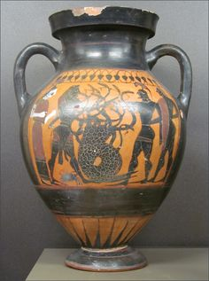 Herakles and Iolaos fighting the Hydra.