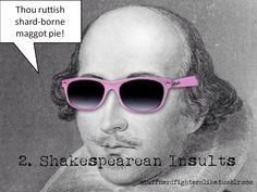 This pic of Shakespeare in pink Ray Bans like I have is awesome. The article is for the Instant Shakespeare Insult Kit. Have not read. I just like the pic ; William Shakespeare, Citation Shakespeare, Shakespeare Insults, Shakespeare Facts, Shakespeare Festival, Shakespeare Plays, Poetry Foundation, English Classroom, English Teachers