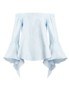 Pixie Market off-the-shoulder ruffle sleeve top in pale blue