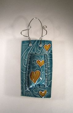 Ceramic Wall Pocket Vase  Aqua with Love by CeriWhiteStudios, £24.00
