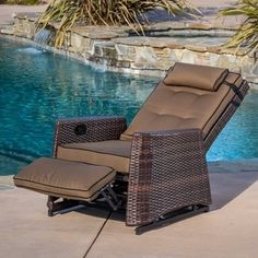 Christopher Knight Home Brown Wicker Outdoor Recliner Rocking Chair - Overstock Shopping - Big Discounts on Christopher Knight Home Sofas, Chairs & Sectionals Outdoor Wicker Chairs, Outdoor Glider, Patio Lounge Chairs, Outdoor Rocking Chairs, Outdoor Lounge Furniture, Wicker Furniture, Outdoor Seating, Outdoor Decor, Furniture Ideas